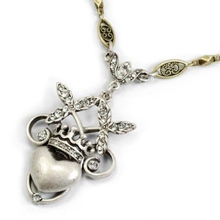Sweet Romance Silvertone Crystal Sacred Heart and Crown Necklace