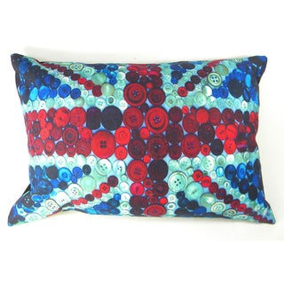 Buttons British Flag Printed Cushion Cover