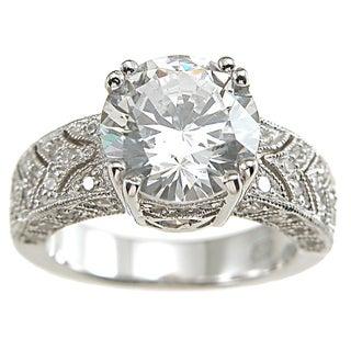 Plutus Sterling Silver Cubic Zirconia Princess Art Deco Vintage Wedding-style Ring