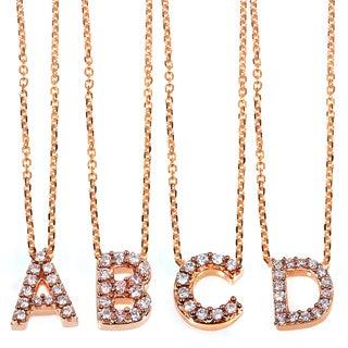 Annello 14k Rose Gold Diamond Accent Mini Initial Letter Necklace