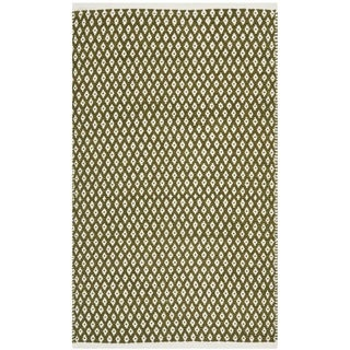 Safavieh Hand-loomed Moroccan Olive Cotton Rug (8' x 10')