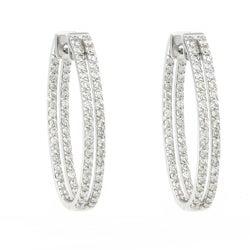 Beverly Hills Charm 14k White Gold 2ct TDW Diamond Inside-out Oval Hoop Earrings