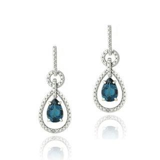 Glitzy Rocks Silver London Blue Topaz and Diamond Accent Pear Earrings