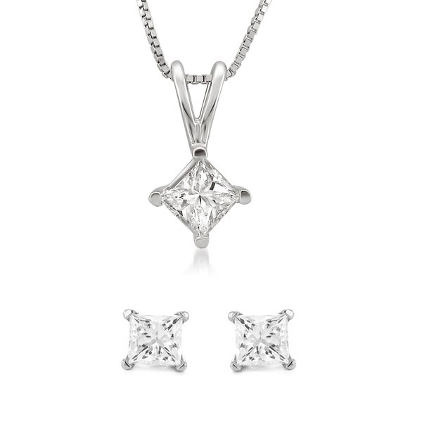 14k White Gold 1/2 or 1ct TDW Diamond Jewelry Set (G-H, I1-I2)