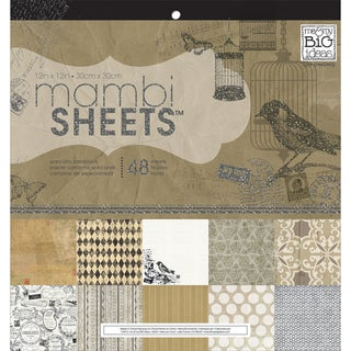 """MAMBI Sheets Specialty Cardstock 12""""X12"""" 48/Sheets-Birdcage Vintage"""