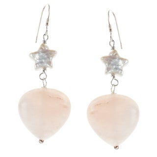 Sterling Silver Pink Aventurine and FW Star Pearl Earrings (6-7 mm)