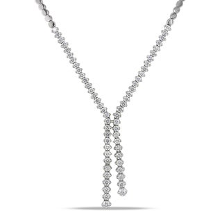 Miadora 14k White Gold 2 7/8ct TDW Diamond Lariat Necklace (G-H, I1-I2