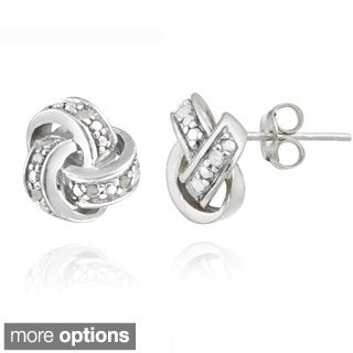 DB Design Sterling Silver 1/10ct TWD Diamond Love Knot Earrings