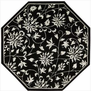 Nourison Hand-tufted Versailles Palace Floral Black/White Rug (6' x 6' Octagon)
