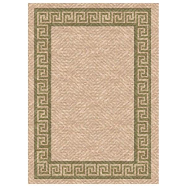 Woven Indoor/ Outdoor Greek Key Beige/ Green Patio Rug (5'3 x 7'6)