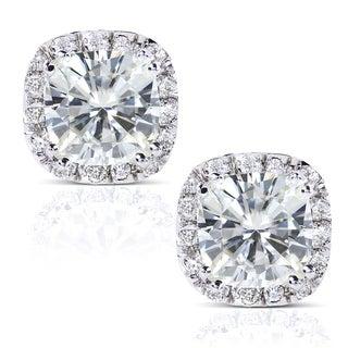 Annello 14k White Gold Moissanite and 1/4ct TDW Diamond Stud Earrings (G-H, I1-I2) with Bonus Item