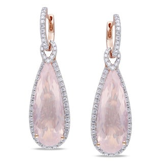 Miadora 14k Rose Gold Rose Quartz and 1ct TDW Diamond Earrings (G-H, SI1)