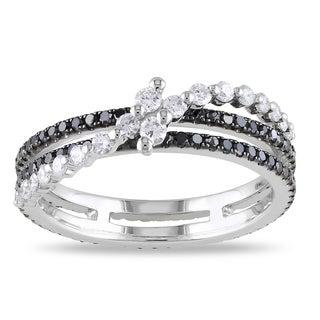 Miadora  14k White Gold 7/8ct TDW Black and White Diamond Ring (G-H, SI1-SI2)