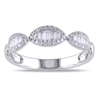 Miadora 18k White Gold 2/5ct TDW Baguette Diamond Ring (G-H, SI1-SI2)