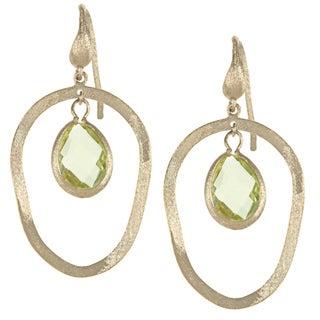 Rivka Friedman Canary Crystal Organic Shape Teardrop Gem Caged Earrings