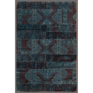 Pak Persian Hand-knotted Patchwork Multi-colored Wool Rug (3'10 x 5'9)