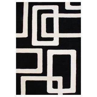 Alliyah Handmade Tufted Black New Zeaand Blend Wool Rug (9' x 12')