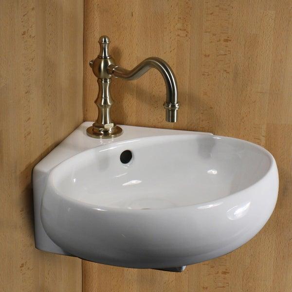 Vitreous China 13-inch Oval Corner Wallmount Vessel Vanity Sink
