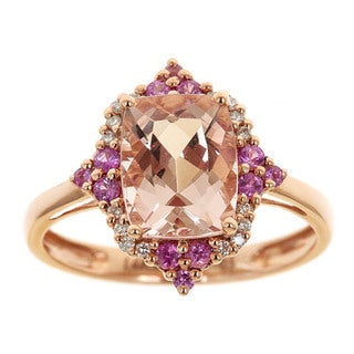 Anika and August D'yach 14k Rose-gold Emerald-cut Morganite, Pink Sapphire and Diamond Ring