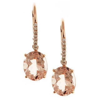Anika and August D'yach 14k Rose Gold Morganite and 1/10ct TDW Diamond Earrings (G-H, I1-I2)