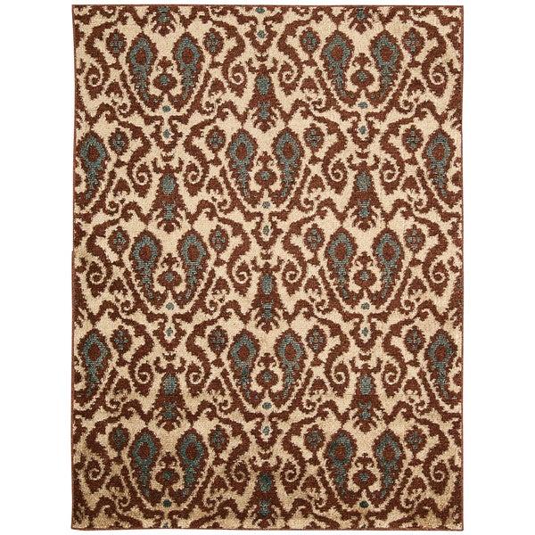 Kindred Damask Ivory/Brown Area Rug (7'9 x 10')