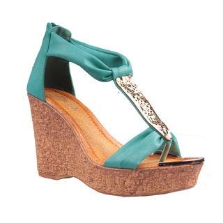 Refresh by Beston Women's 'Maysa-05' T-Strap Wedge Sandals