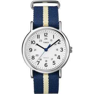 Timex Unisex T2P142 Weekender Navy/Yellow Stripe Slip Thru Nylon Strap Watch