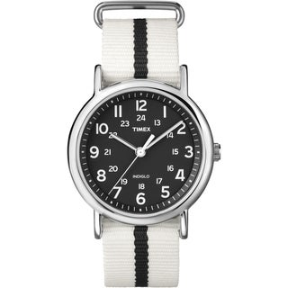 Timex T2P1469J Unisex Weekender White/ Black Stripe Slip Thru Nylon Strap Watch