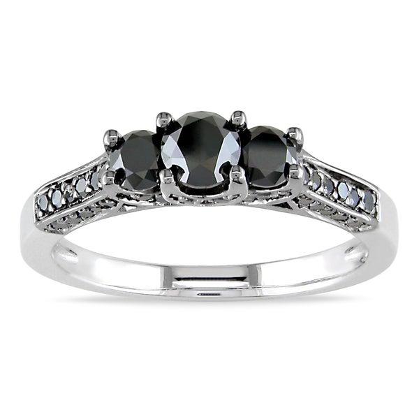 Miadora Sterling Silver 1ct TDW Black Diamond 3-Stone+ Ring