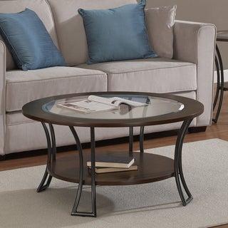 Carlisle Walnut/ Charcoal Grey Round Coffee Table