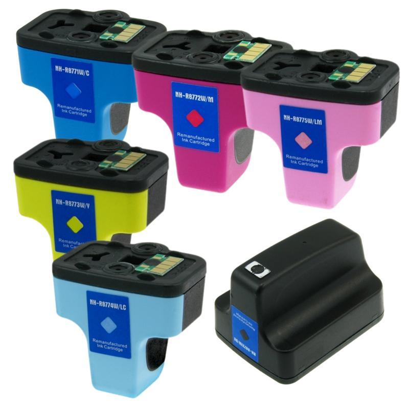 HP 02 Black/Color Ink Cartridge Set (Remanufactured) (Pack of 6)