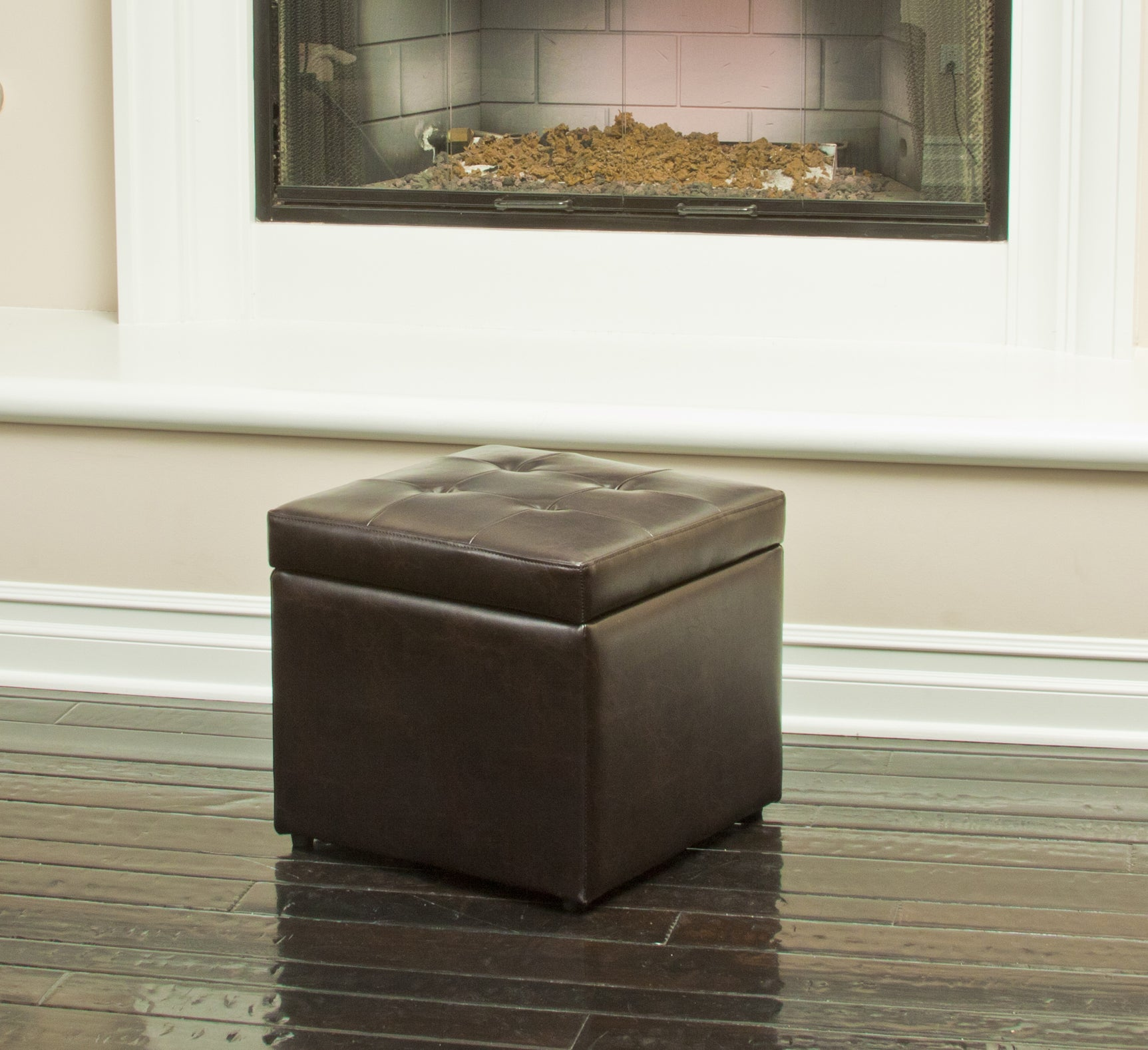 Square Brown Tufted Storage Ottoman