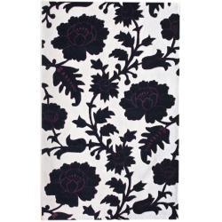 nuLOOM Handmade Deco Floral Black/ Ivory Rug (7'6 x 9'6)