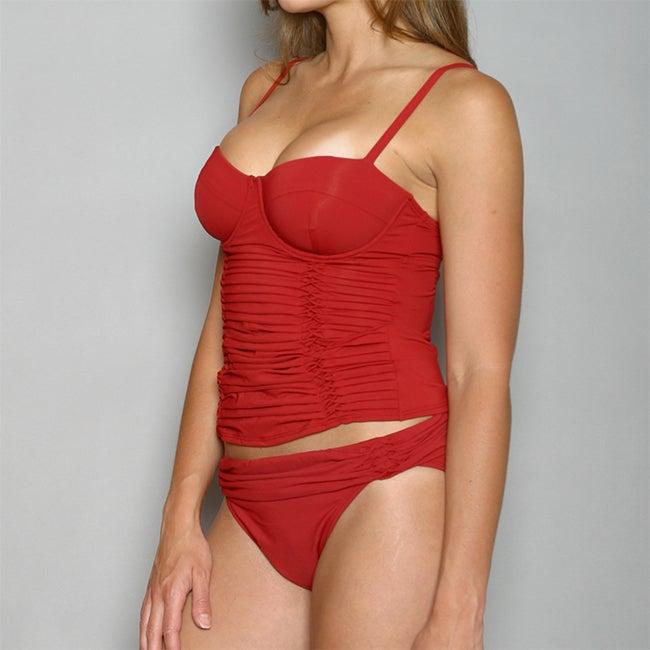 Jantzen Women's Red Underwire Pleated Tankini