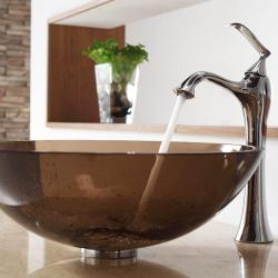 Kraus Clear Brown Glass Vessel Sink and Ventus Faucet