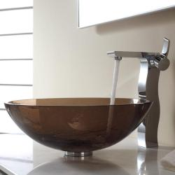 Kraus Clear Brown Glass Vessel Sink and Sonus Faucet