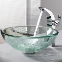 Kraus Clear 19mm thick Glass Vessel Sink and Illusio Faucet
