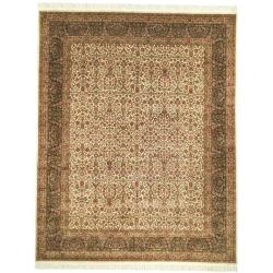 Asian Hand-knotted Royal Kerman Ivory/ Green Wool Rug (10' x 14')