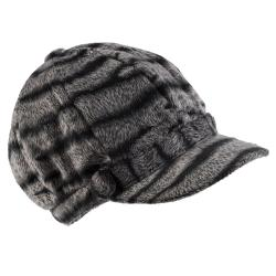 Hailey Jeans Co. Women's Faux Fur Zebra Print Newsboy Cap