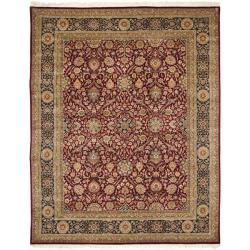 Asian Hand-Knotted Royal Kerman Red-and-Blue Wool Area Rug (6' x 9')