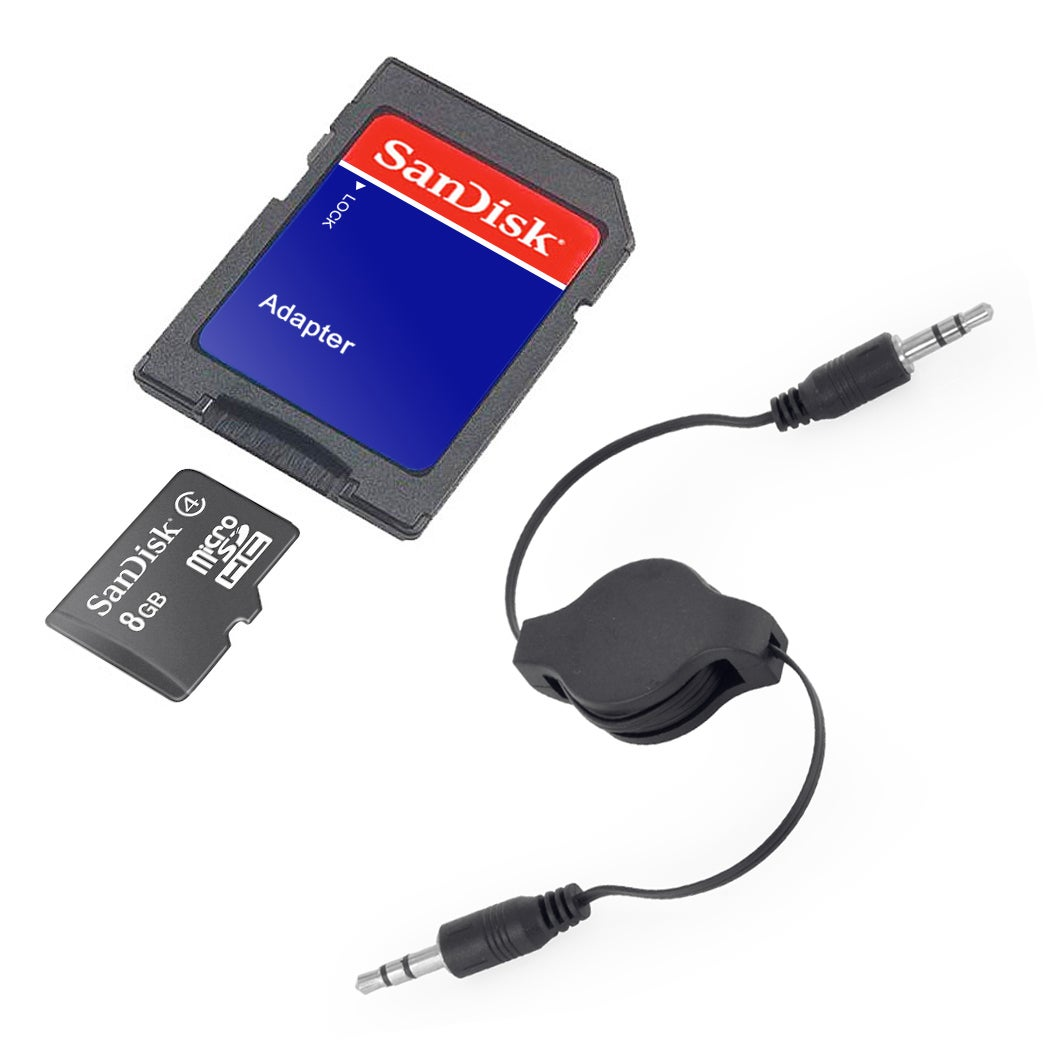 SanDisk 8GB Class 4 MicroSD Memory Card with SD Adapter and AUX Cable