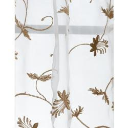 Fiona Floral Off White Embroidered Organza 108-inch Sheer Curtain Panel
