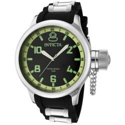Invicta Men's 'Russian Diver' Black Dial Black Polyurethane Watch