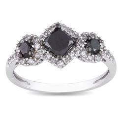 Miadora 10k White Gold 1ct TDW Black and White Diamond Halo Ring (G-H, I2-I3)