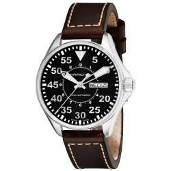 Hamilton Men's Khaki Aviation Pilot Leather Strap Automatic Watch