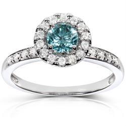 14k White Gold 3/4ct TDW Halo Blue Diamond Ring (H-I, I1-I2)