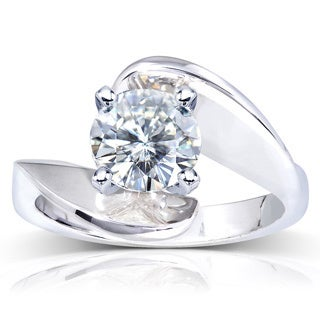 Annello 14k White Gold Round-cut Moissanite Solitaire Curved Ring with Bonus Item