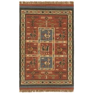 Hand-woven Tribal Red Wool/ Jute Rug (10' x 14')