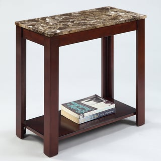 Marble Top Cappuccino Wood Side End Table
