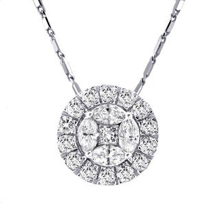 Beverly Hills Charm 14k White Gold 1ct TDW Diamond Halo Cluster Necklace